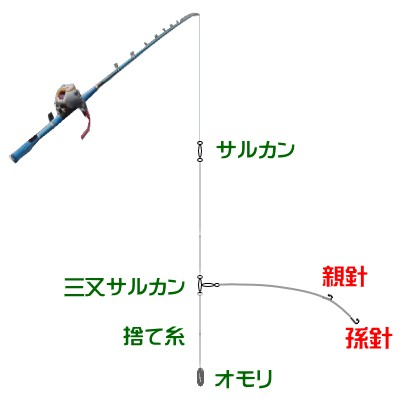 ロックフィッシュの船の泳がせ釣り仕掛けと釣り方